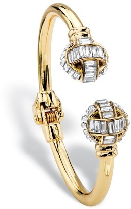 "PalmBeach Jewelry Baguette-Cut White Crystal Ball Hinged Cuff Bracelet in Gold Tone 8"" Bold Fashion"