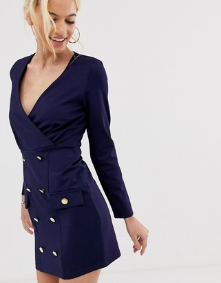 UNIQUE21 shift dress with gold buttons