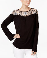 INC International Concepts Embellished Lace-Yoke Top, Only at Macy's
