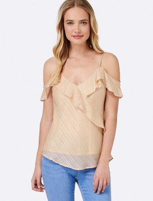 Forever New Lisa Lurex Ruffle Cami - Nude - 6