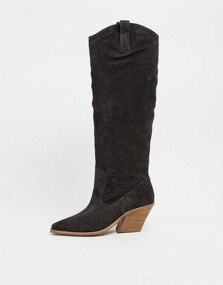 Bronx suede knee boots in black