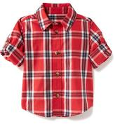 Old Navy Plaid Poplin Roll-Sleeve Shirt for Baby