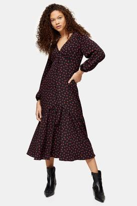 Topshop Womens Petite Floral Rose Print Button V-Neck Midi Dress - Black