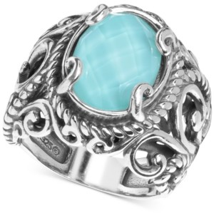 Carolyn Pollack Turquoise/Rock Crystal Doublet Ring in Sterling Silver