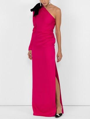 Rebecca De Ravenel Jacquard One Shoulder Gown