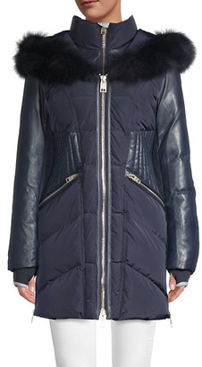 Nicole Benisti Courvechal Fox Fur-Trim Down Puffer Coat