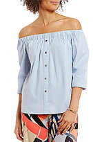 Vince Camuto Off-The-Shoulder 3/4 Sleeve Poplin Blouse