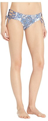 MICHAEL Michael Kors Shirred Bikini Bottoms with Adjustable Side Ties (Grecian Blue) Women's Swimwear