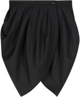 Monique Singh Iconic Black Gabardine Draped Skirt