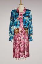 Marco De Vincenzo Printer satin pleated dress