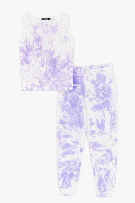 Nasty Gal Womens Turn It Up Tie Dye Top and Jogger Set - Purple - 10