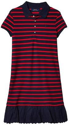 Polo Ralph Lauren Eyelet Stretch Mesh Polo Dress (Little Kids/Big Kids)