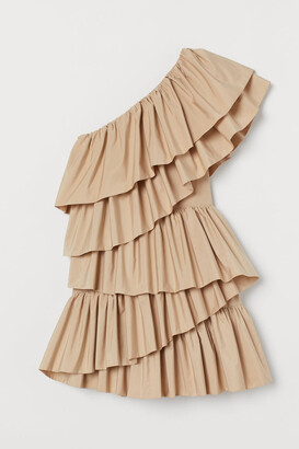 H&M Ruffled Cocktail Dress - Beige