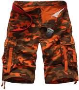 Elonglin Men Cargo Camo Casual Shorts Cotton NO BELT Black