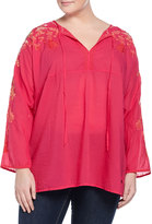 Johnny Was Jessica Long-Sleeve Embroidered Tunic, Pink Berry, Women's