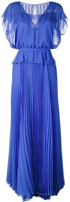 Talbot Runhof Pleated Skirt Layered Gown
