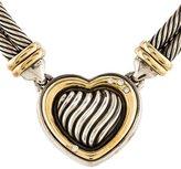 David Yurman Two-Tone Diamond Metro Cable Heart Necklace
