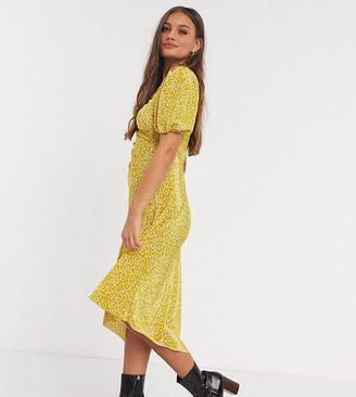 ASOS DESIGN Petite plisse mini dress in yellow ditsy floral print