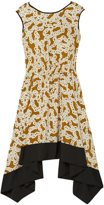 Diane von Furstenberg Asymmetric Printed Silk Crepe De Chine Dress