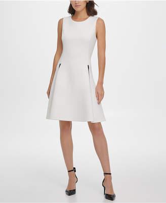 DKNY Faux-Leather Zip Pocket Fit & Flare Dress