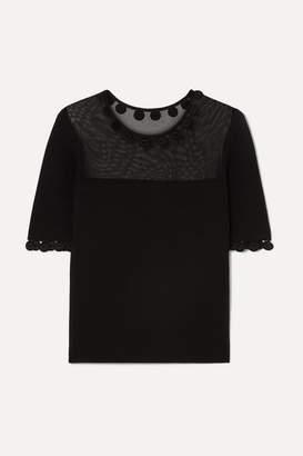 Oscar de la Renta Wool-blend Top - Black