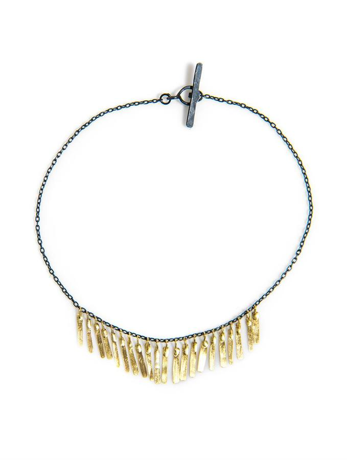 SIA Taylor Fringe yellow gold and oxidised-silver bracelet