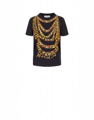 Moschino Jersey T-shirt Chains Woman Black Size 38 It - (4 Us)