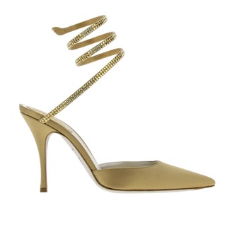 Rene Caovilla High Heel Shoes Sandals In Satin With Rhinestones