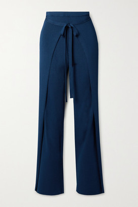 Cult Gaia Edie Tie-front Ribbed-knit Straight-leg Pants