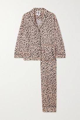 Les Girls Les Boys Animal-print Jersey Pajama Set - Peach