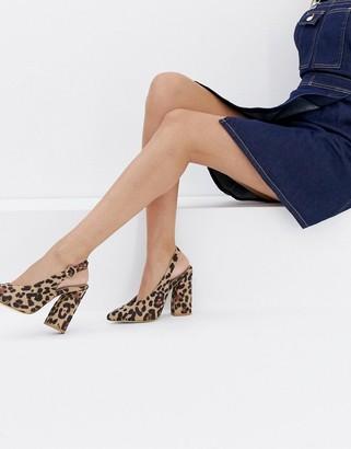 Raid RAID Brook leopard print block heeled shoes-Multi