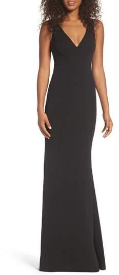 Katie May Mischka V-Neck Crepe Gown
