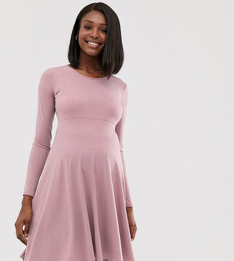 Blume Maternity exclusive long sleeved stretch midi skater dress in mauve