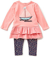 Starting Out Baby Girls 12-24 Months Sailboat-Appliqued Tunic & Printed Leggings Set