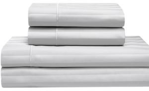 Elite Home Cooling Cotton Satin Stripe Queen Sheet Set Bedding