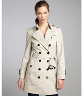 Burberry khaki cotton blend double breasted belted trench coat