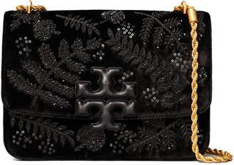 Tory Burch Eleanor Velvet Embellished Convertible Chain Shoulder Bag