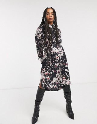 AllSaints anya wing print midi shirt dress-Black