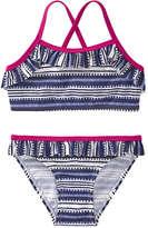 Joe Fresh Toddler Girls' lemlem 2 Piece Ruffle Bikini, Blue (Size 2)
