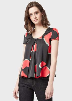 Emporio Armani Crepe Blouse With Double Godet Pleat And Leoflower Print