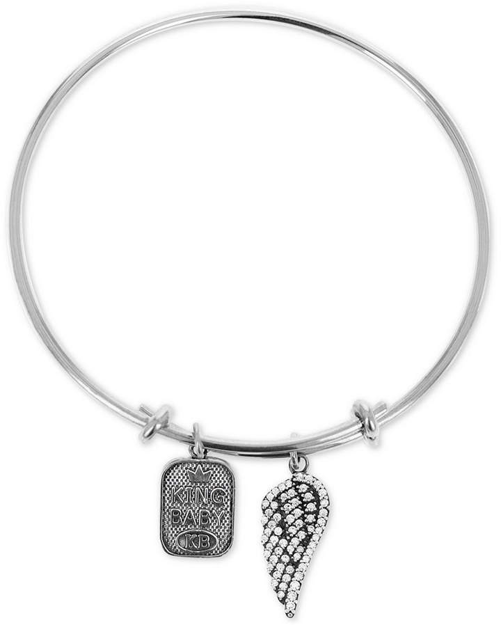 King Baby Studio Women's Pave Wing & Logo Adjustable Bangle Bracelet in Sterling Silver