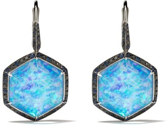 Stephen Webster 18kt white gold Deco Haze diamond, hematite and opal drop earrings