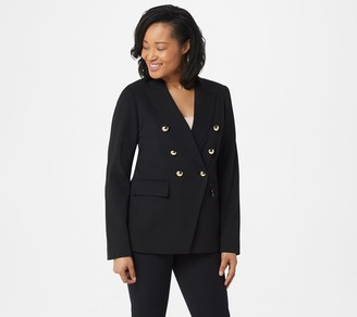 Dennis Basso Luxe Crepe Double-Breasted Jacket
