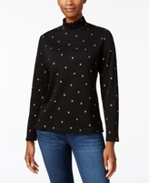 Karen Scott Petite Printed Leaf Mock-Neck Top, Created for Macy's
