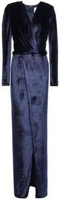 Galvan Vera Wrap-effect Gathered Velvet Gown