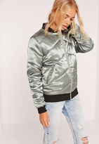 Missguided Satin Quilted Bomber Jacket Metallic Green