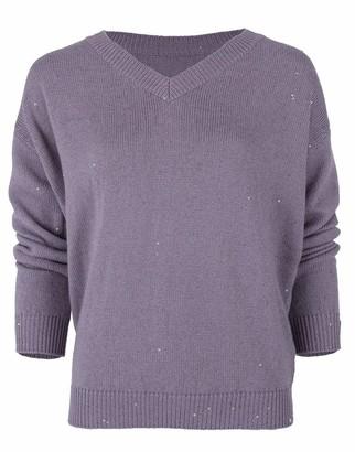 Brunello Cucinelli Violet Long Sleeve V-Neck Cashmere Silk Pailette Knit Sweater