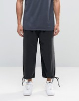 Asos Straight Leg Slinky Drawstring Trousers In Cropped Length In Washed Black