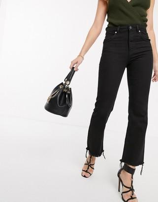 Asos Design DESIGN Egerton rigid cropped flare jeans in washed black with raw hem