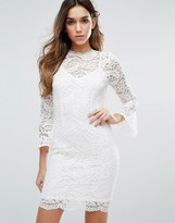 Jessica Wright 3/4 Sleeve High Neck Lace Dress
